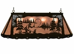 """46"""" Fly Fisherman Scenic Hanging Oval Metal Pool Table Galley Light"""