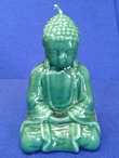 "5.5"" Jade Green Buddha Candles, Set of 2"