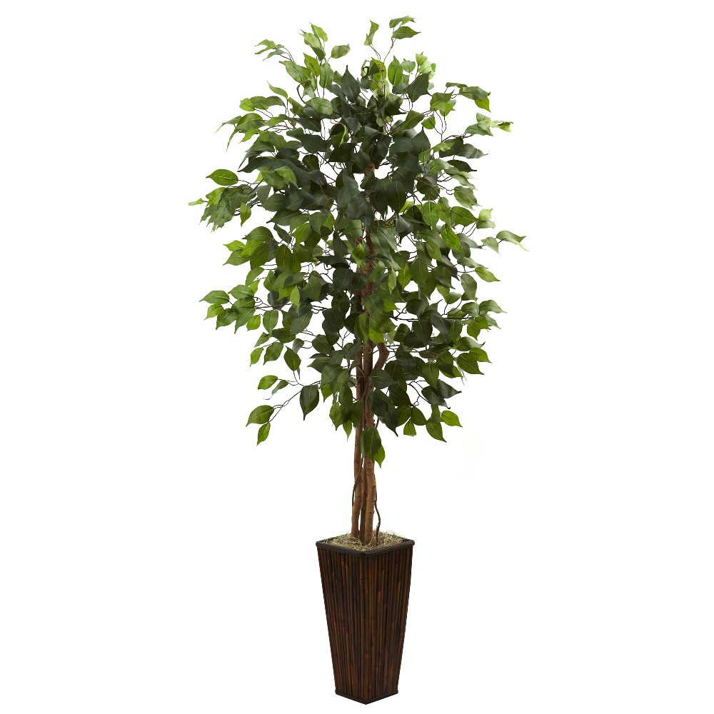 5 5 39 silk ficus tree with bamboo planter artificial for Artificial plants for decoration