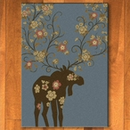 5' x 8' Abstract Moose Blossom Blue Wildlife Rectangle Rug