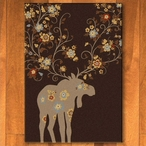 5' x 8' Abstract Moose Blossom Chocolate Wildlife Rectangle Rug