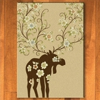 5' x 8' Abstract Moose Blossom Natural Wildlife Rectangle Rug