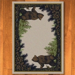 5' x 8' Twin Bears in the Forest Green Wildlife Rectangle Rug