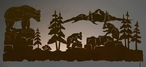 "57"" Bear Family Scenic LED Back Lit Lighted Metal Wall Art"