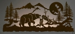 "57"" Brown Bear Scenic LED Back Lit Lighted Metal Wall Art"