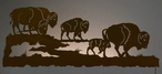 "57"" Buffalo Herd Scenic LED Back Lit Lighted Metal Wall Art"