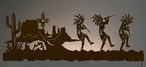 "57"" Dancing Kokopellis Desert Scene LED Lighted Metal Wall Art"