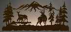 "57"" Deer Family Scenic LED Back Lit Lighted Metal Wall Art"
