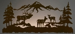 "57"" Elk Family Scenic LED Back Lit Lighted Metal Wall Art"