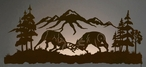 "57"" Fighting Bull Elk LED Back Lit Lighted Metal Wall Art"