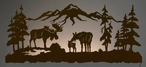 "57"" Moose Family Scenic LED Back Lit Lighted Metal Wall Art"