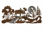 "57"" Moose in the Forest Burnished Metal Wall Art"