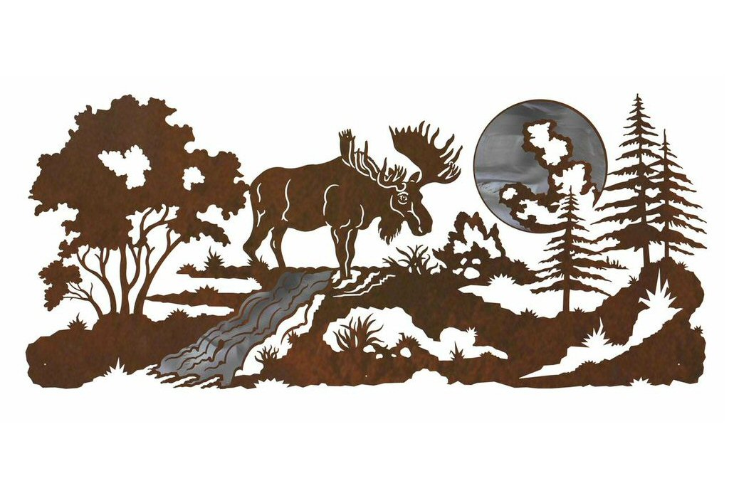 57 Moose In The Forest Burnished Metal Wall Art