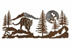 "57"" Mountain Lion in the Forest Burnished Metal Wall Art"