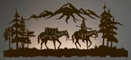 """57"""" Mountain Man Riding Horse Scenic LED Lighted Metal Wall Art"""