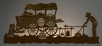 """57"""" Old West Chuck Wagon Scenic LED Back Lit Lighted Metal Wall Art"""