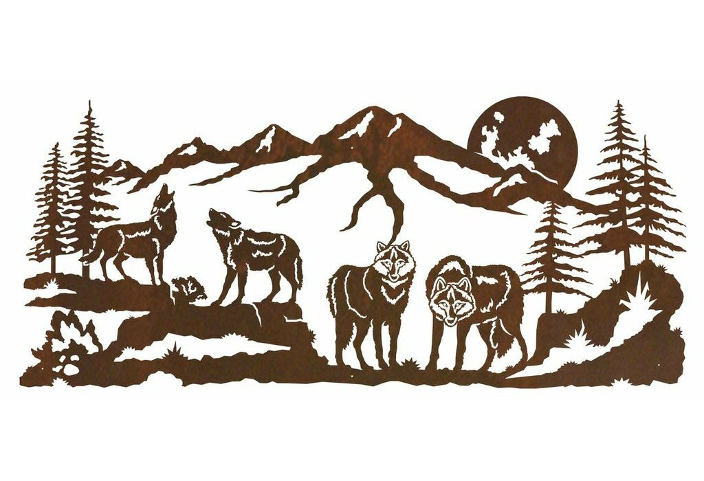57 pack of wolves in the forest metal wall art