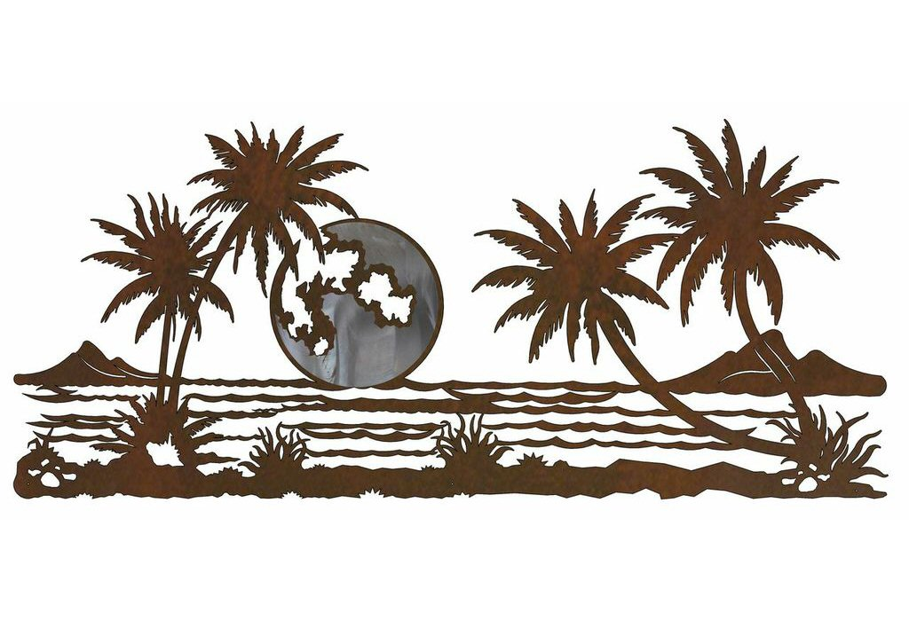 57 palm trees with ocean view burnished metal wall art nature wall decor. Black Bedroom Furniture Sets. Home Design Ideas
