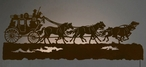 """57"""" Stagecoach with Horses LED Back Lit Lighted Metal Wall Art"""