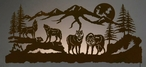 "57"" Wolves Scenic LED Back Lit Lighted Metal Wall Art"