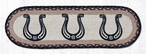 """8.25"""" x 27"""" Horse Shoes Braided Jute Oval Stair Tread Rugs, Set of 2"""