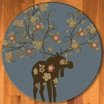 8' Abstract Moose Blossom Blue Wildlife Round Rug