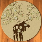 8' Abstract Moose Blossom Natural Wildlife Round Rug