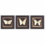 "8"" Assorted Butterfly Framed Wood Wall Plaques, Set of 6"
