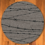8' Barbed Wire Natural Western Round Rug