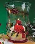 "8"" Cardinal Bird Scene Hand Painted Glass Hurricane Candle Holder"
