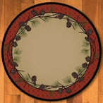 8' Delicate Pines Red Nature Round Rug