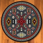 8' Double Cross Gray Southwest Round Rug