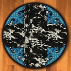8' Fancy Cowhide Turquoise Western Round Rug