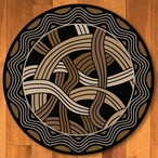 8' Hand Coiled Black Cherokee Inspired Round Rug
