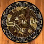 8' Hand Coiled Natural Cherokee Inspired Round Rug