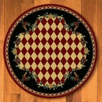 8' High Country Rooster Red Round Rug