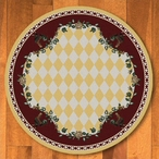 8' High Country Rooster Yellow Round Rug