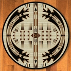 8' Horse Thieves Natural Southwest Round Rug