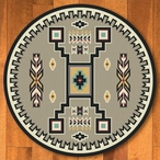 8' Old Crow Suede Turquoise Southwest Round Rug