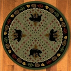 8' Patchwork Bear and Pinecones Green Wildlife Round Rug