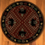 8' Patchwork Bear and Pinecones Red Wildlife Round Rug