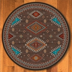 8' Persian Southwest Brown Round Rug