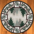 8' Pine Forest with Pinecones Nature Round Rug