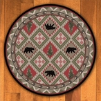 8' Quilted Forest Pine with Bears Wildlife Round Rug