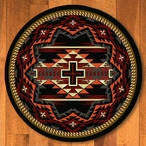8' Rustic Cross Black Southwest Round Rug