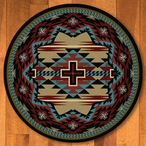 8' Rustic Cross Blue Southwest Round Rug
