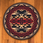 8' Rustic Cross Burnt Red Southwest Round Rug