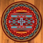 8' Rustic Cross Sunset Southwest Round Rug