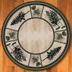 8' Stoic Pines Forest Nature Round Rug