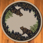 8' Twin Bears in the Forest Green Wildlife Round Rug